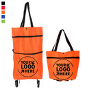 Custom Foldable Trolley Grocery Shopping Bag Handbag with Wheels, Lightweight and Portable