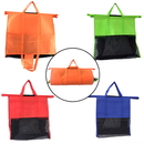 Set of 4 Supermarket Shopping Cart Bags Trolley Bags with Handles, Foldable and Reusable