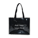 Custom PVC outer portable bag canvas inner tote bag double handbag with buckle fixed