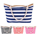 Opromo Large Canvas Beach Bag, Top Zipper Closure Zipper Women's Beach Shoulder Tote Bag, 23 5/8