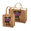 Custom Laminated Jute Burlap Wine Tote Bag for Gift, Shopping, Party, Travel