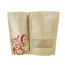 Custom Natural Kraft Stand-up Zip Pouch with Window, (1 OZ to 16 OZ), 5.5 mil - Full Color Printing