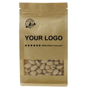 Custom Natural Kraft Zippered Quad Seal Bags with Frosted Window,( 8 OZ, 1 LB, 2 LB ) , 6.3 Mil - 1 Color Printing