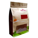 Custom Natural Kraft Zippered Quad Seal Bags with Frosted Window - Full Color Printing ,(8 OZ to 2 LB)