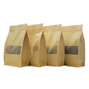 8 oz Natural Kraft Zippered Quad Seal Bags with Frosted Window - Pack of 50, FDA Compliant
