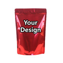 Custom Foil Lined Stand Up Pouch with Zipper, Red, 4.7 mil - 1 Color Printing