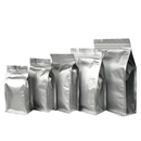 50 PCS 10 oz Silver Flat Bottom Gusset Bag with Zipper, 4 3/4