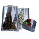100 PCS Clear / Silver Flat Pouch Bags, FDA Compliant, (0.125 OZ to 22 OZ)