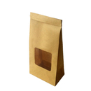 (Price/50 PCS) 1 Lb Kraft Tin Tie Coffee Bags/Bakery Bags with Clear Window (Brown,White), 4-1/2