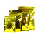 100 PCS Gold Foil Flat Pouch with Zip Closure (1.5 - 24oz), 3 mil