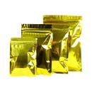 100 PCS Gold Foil Flat Pouch with Zip Closure (1.5 - 24oz), 3 mil
