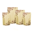 100 PCS Natural Kraft Foil Stand Up Zip Pouch w/Flower Pattern (4-16 oz), 5.5 Mil