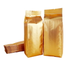 100 PCS Gold Foil Flat Bottom Gusset Bag, Heat Sealing (1-24 oz), 3.5 Mil