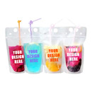 Custom Frosted Ziplock Stand Up Juice Pouches w/ Handle, 4 Mil, 12 oz to 20 oz