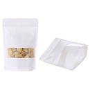 50 PCS Aspire White Kraft Paper Stand Up Zip Pouch with Frosted Window, 6 mil, FDA Compliant