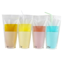 (Price/50 PCS) Aspire 13oz Clear Cartoon Reclosable Ziplock Stand up Drink Bags w/Handle, Juice Pouches with 1.5