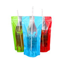 (Price/100 PCS) 16 OZ Clear Ziplock Stand up Drink Bag, Cola Bottle Shaped Juice Pouches, 3 Mil