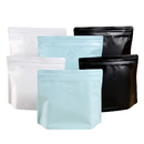 (Price/50 PCS) Trapezoid Stand up Coffee Bags with Degassing Valve and Double Ziplock, Pull Tab Zipper, FDA Compliant