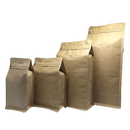 (Price/50 PCS) Kraft Side Gusseted Bags, Paper Coffee, Snack, Popcorn Corn Bags With Degassing Valve And Double Ziplock, FDA Compliant