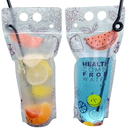 (Price/50 PCS) Aspire Juice Pouches with Ziplock and Handle, 8 OZ, 16 OZ