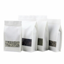 50 PCS White Kraft Flat Bottom Bags w/ Frosted Window and Zipper (8 OZ to 2.5 LB), 5.5 mil, FDA compliant