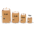 (Price/ 10 PCS) Loose Leaf Box Pouches with Kraft Ties and Clear Window, (6 OZ to 5 LB), 7.5 mil