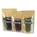 Custom Kraft Back Ziplock Stand Up Pouch - FDA Compliant, 2 OZ to 1.5 LB