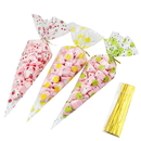 50 PCS Clear Cone Shaped Treat Bags with Twist Ties, 1.5mil Thickness
