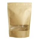 50 PCS Aspire Kraft Stand Up Pouch Bags with Notch and Clear Window, FDA Compliant