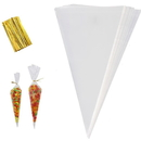 50 PCS Aspire Clear Cone Shaped Treat Bags with Twist Ties