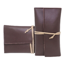 Custom Genuine Leather Roll Up Tobacco Pouch with Rolling Tip Paper Holder Slot