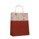 10 PCS Elegant Flower Pattern Paper Shopping Bags with Twisted Handle, 8 1/4