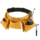 Aspire Leather Kids Tool Belt Adjustable Child's Tool Pouch for Role Play with 7 Pockets Tool Bag