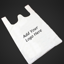 Custom 1.0 Mil White Plastic T-shirt Shopping Bags, 12