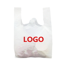 Custom Plastic Shopping Bag White High Density T-Shirt Bags Reusable Grocery Bags, 0.65 Mil