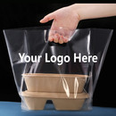Custom Take Out Restaurant Bags Reusable Plastic Bags w/Die Cut Handle, Carry Out Plastic Bag