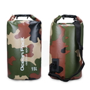 Blank 15-Liter Durable Waterproof Camo Dry Bag with Single Shoulder Strap