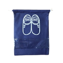 Blank Non-woven Dust-proof Dual Drawstring Shoe Bags Organizer with Clear View Window (Size M/L, Navy Blue/Light Blue)