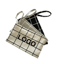 Custom Plaid Canvas Coin Purse key Bag Cosmetic Storage Holder Case