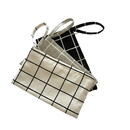 Blank Plaid Canvas Coin Purse key Bag Cosmetic Storage Holder Case
