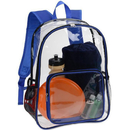 Opromo Clear Backpack Bookbag Transparent PVC School Bag with Mesh Side Pockets