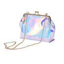 Opromo PVC Kiss Lock Clutch bag Clear Crossbody Messenger Shoulder Bag for Women