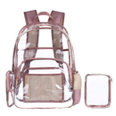 Opromo Clear Backpack with Cosmetic Bag, Clear Transparent PVC School Bookbag Outdoor Backpack