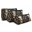 Aspire Snake Skin Cosmetic Bag Makeup Bag Travel Zipper Bag PU Portable Large Cosmetic Pouch with Gold Zipper for DIY Project