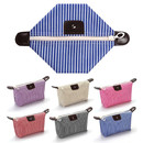 Muka Stripe Waterproof Cosmetic Bag Women Foldable Travel Toiletry Makeup Bag