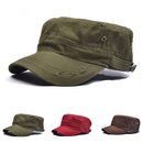 Opromo Unisex Distressed Washed Cotton Cadet Army Cap Flat Top Military Style Cap