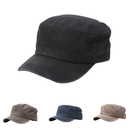 Opromo Vinatge Washed Cotton Cadet Hat Adjustable Flat Top Military Army Cap