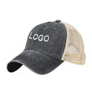 Custom Washed Cotton Trucker Hats Soft Mesh Back Cap Embroidered Hat, Adjustable