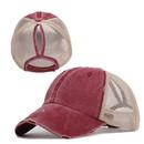 Opromo Distressed Messy High Bun Ponytail Baseball Cap for Women Vintage Washed Cotton Ponytail Hat