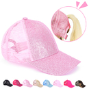 Opromo Kids Ponytail Messy High Bun Glitter Ponycaps Adjustable Mesh Cotton Trucker Baseball Cap Hat for Girls
